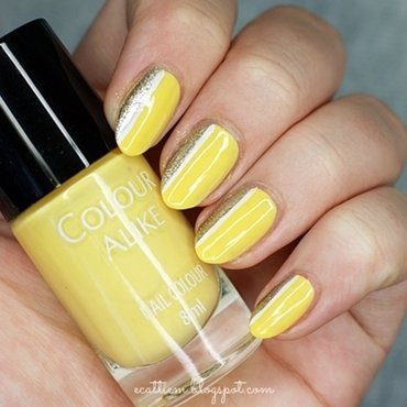 31DC2014 - Day 3: Yellow nail art by ecattiem