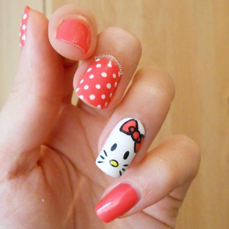 Hello Kitty Nails nail art by Polishisthenewblack