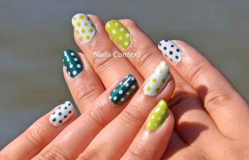 Green Polka Dots nail art by NailsContext