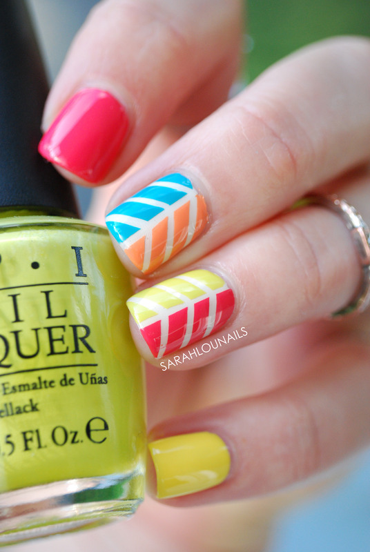 Multicolor Herringbone Nails Nail Art By Sarah S Nailpolis