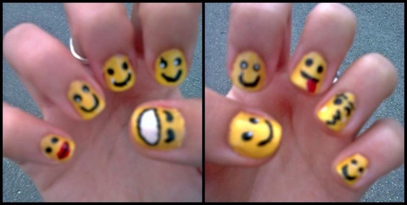 Happy Emoticons :D nail art by LOreeNA