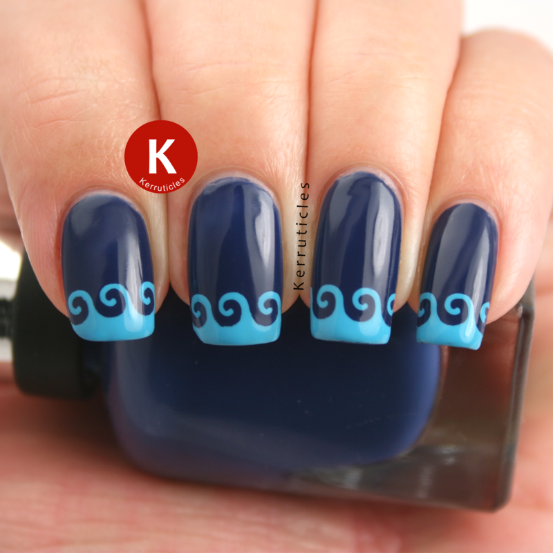 Blue wavy stencilled tips nail art by Claire Kerr