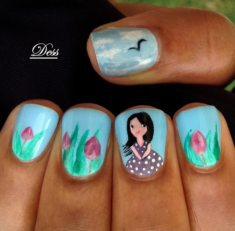 A walk in the garden nail art by Dess_sure