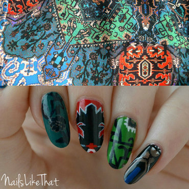 Folk print nails nail art by Nicole M