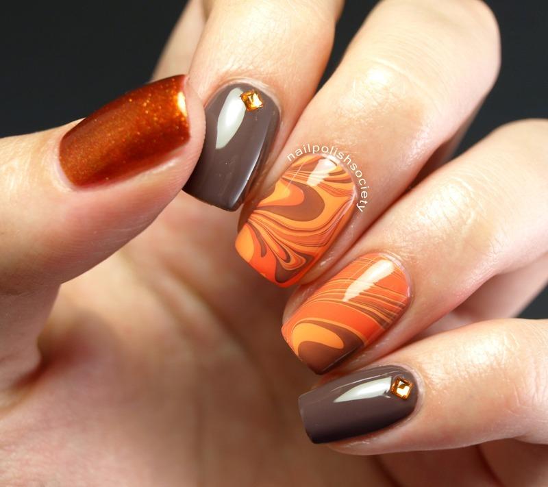 Autumn Water Marble nail art by Emiline Harris