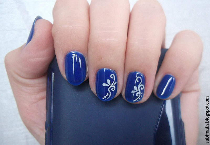 Blue nail art by Sabina