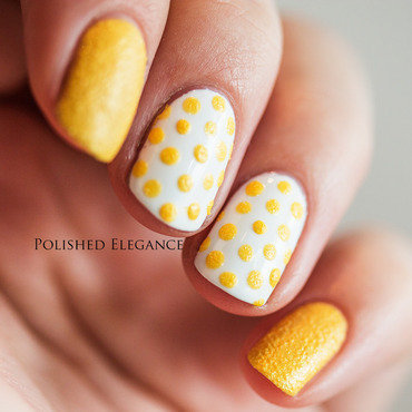 31DC2014 - Day 3: Yellow Polka Dot Bikini nail art by Lisa