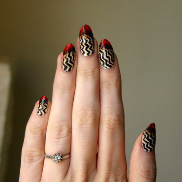 Twin Peaks nails nail art by ladycrappo