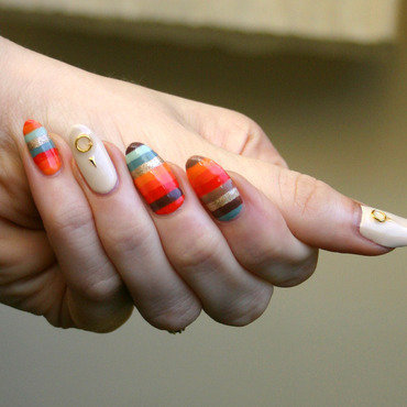 Orange Stripes nail art by ladycrappo