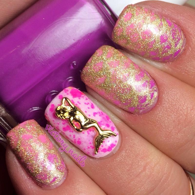 Neon pink mermaid nail art by Nicole