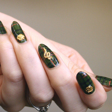 Green Plaid + Gold Charms nail art by ladycrappo