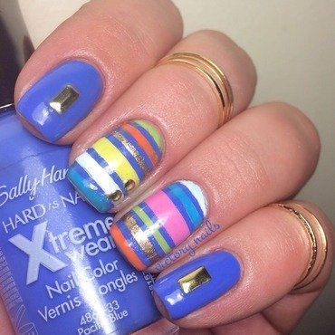 Blue + stripes nail art by Nicole