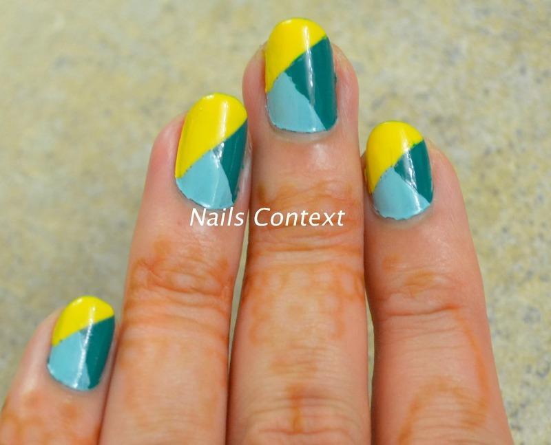 Colorblocked Nails nail art by NailsContext