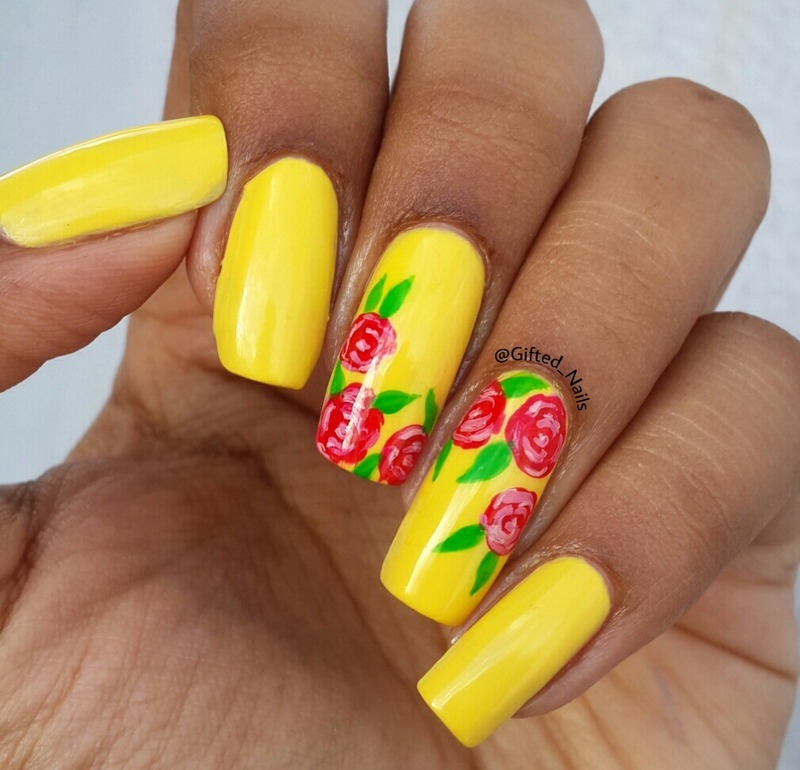 Yellow Flower Nails Nail Art By Giftednails Nailpolis Museum Of