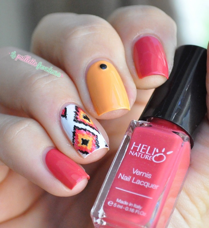 mango/watermelon ikat nail art by nathalie lapaillettefrondeuse
