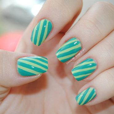 Green Stripes nail art by Ditta