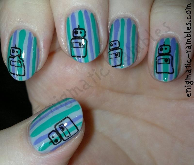 Striped Robot Nails nail art by Enigmatic Rambles - Nailpolis ...