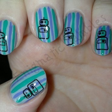 Striped Robot Nails nail art by Enigmatic Rambles