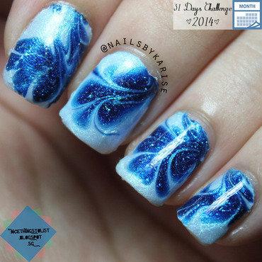 Blue Swirls nail art by Karise Tan