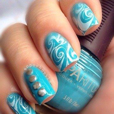 Blue with White Swirls nail art by Debbie