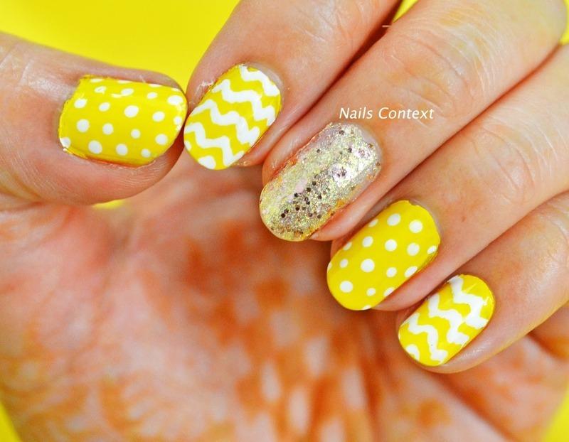 Yellow Chevron Nails nail art by NailsContext