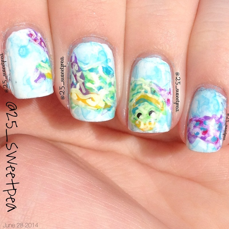 Sea Turtle Water Color nail art by 25_sweetpea