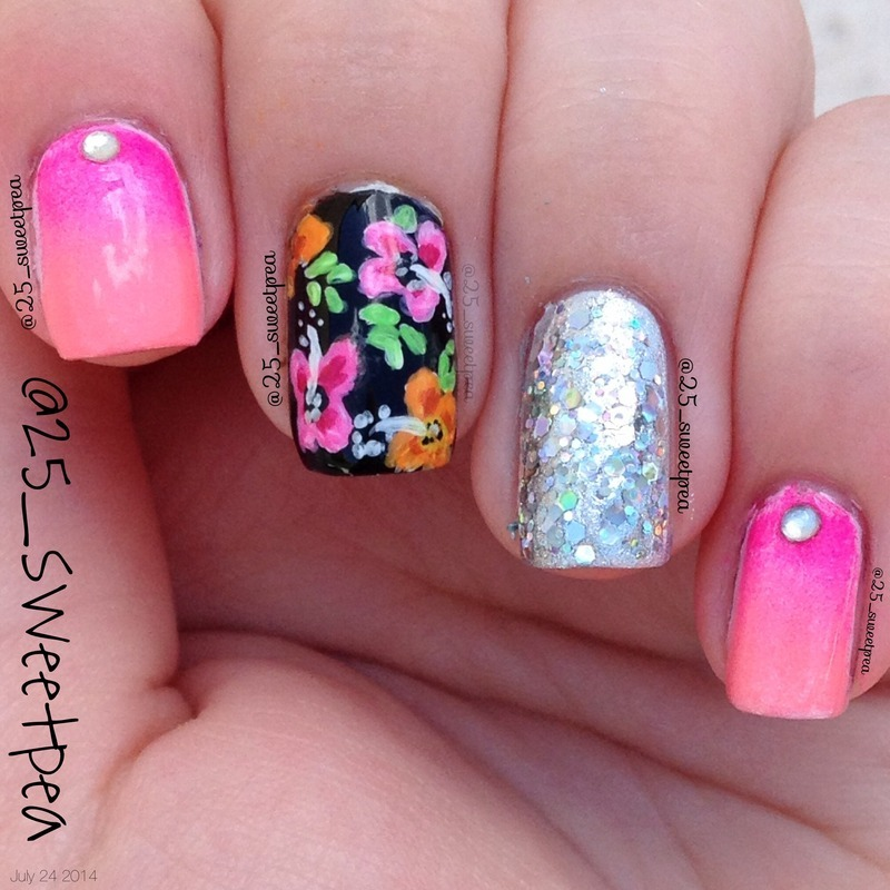 Tropical Flowers  nail art by 25_sweetpea