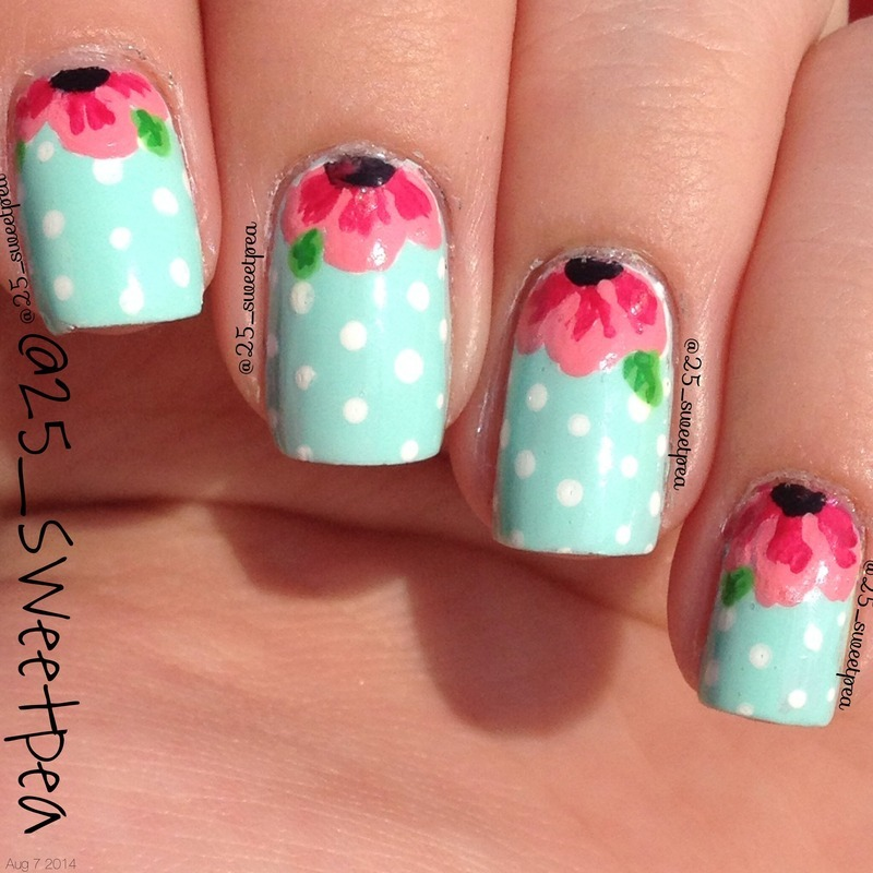 Floral Half Moon nail art by 25_sweetpea