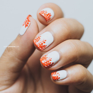 Orange Floral Tips nail art by Petite Peinture
