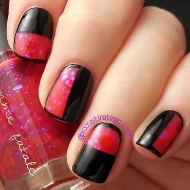 Colour blocked Black and Red nail art by Jae Harrison