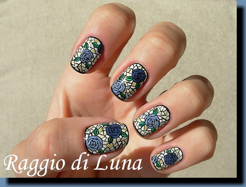 Stained glass blue roses nail art by Tanja
