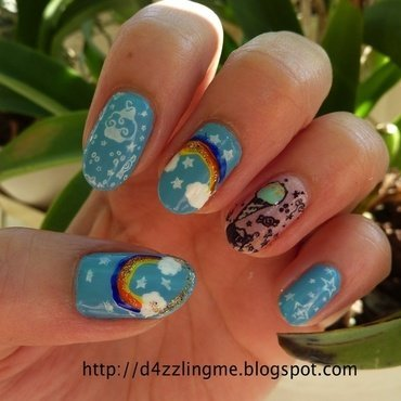 Rainbow Nails  nail art by D4zzling Me