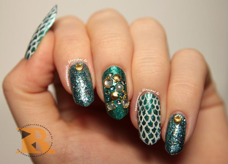 Mermaid Nails with Shimmer Jasmine nail art by Robin