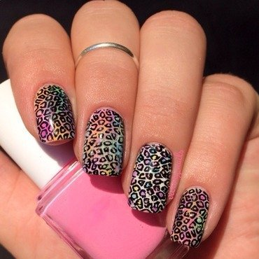 Rainbow mini leopard nail art by Nicole