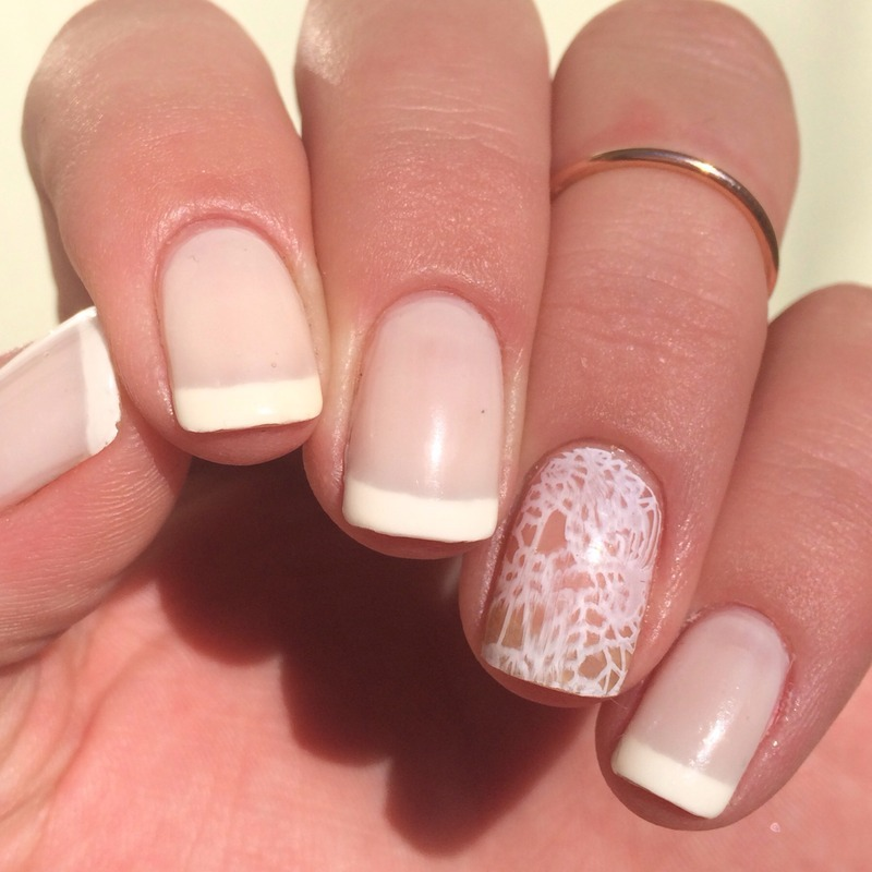 French + lace accent nail art by Nicole