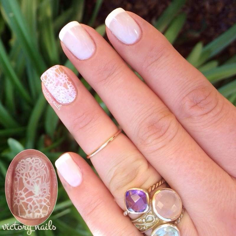 French w. lace accent nail art by Nicole - Nailpolis: Museum of Nail Art