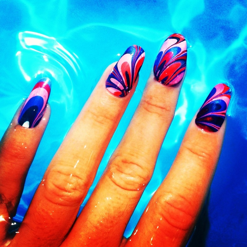 off the deep end. nail art by NAMInails