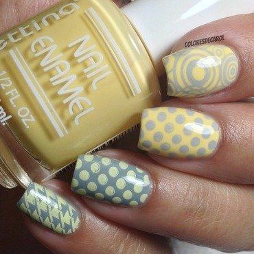 Gray and Yellow nail art by Carolina Garcia