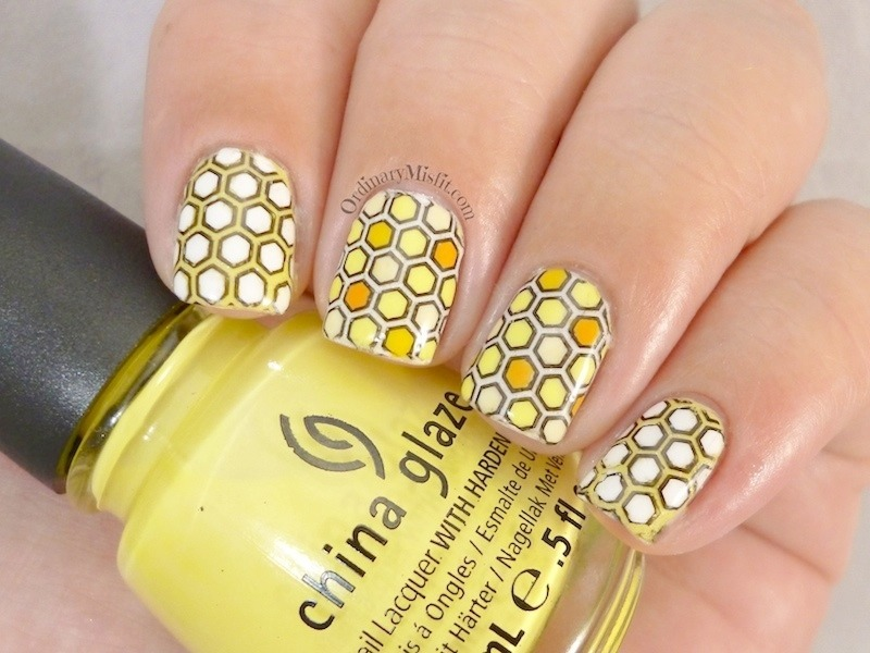 Yellow stamping decals nail art by Michelle