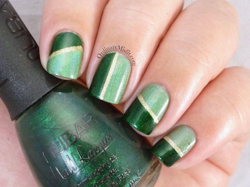 Green on green nail art by Michelle