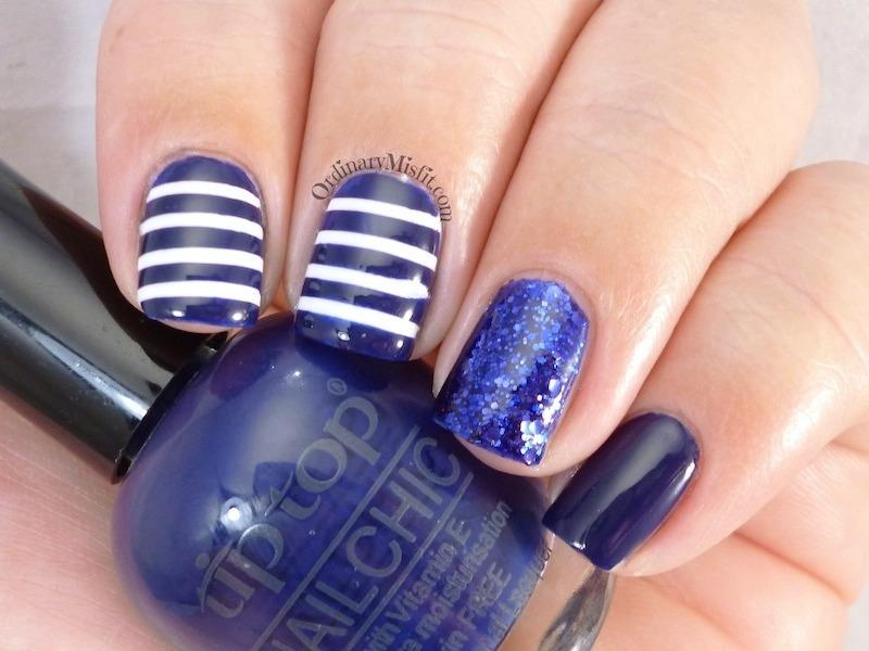 Blue & White stripes nail art by Michelle