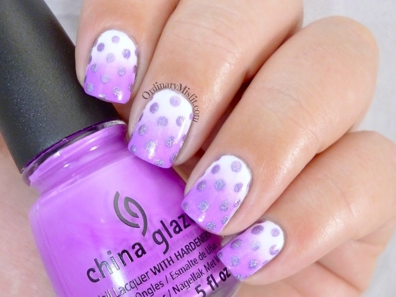 Violet gradient and polka dots nail art by Michelle