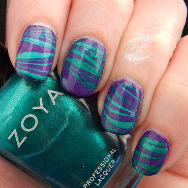 Striped Water Marble nail art by Serra Clark
