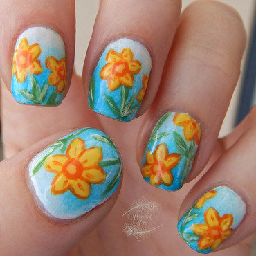 Spring Daffies nail art by Serra Clark