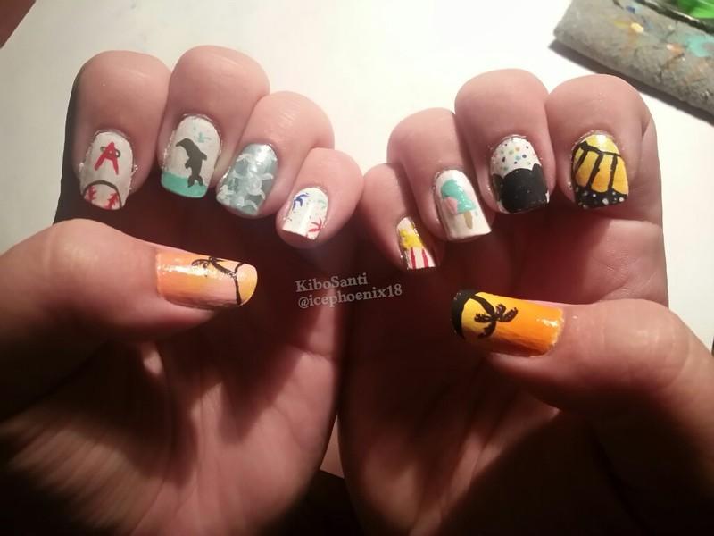 September challenge day 1 Summer Summary  nail art by KiboSanti