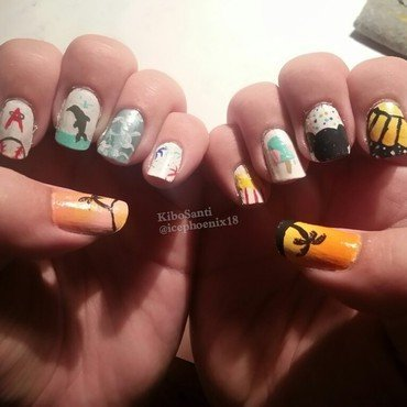 September challenge day 1 Summer Summary  nail art by KiboSanti