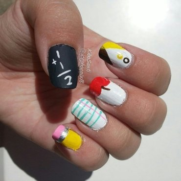 September challenge day 2 Back to School  nail art by KiboSanti
