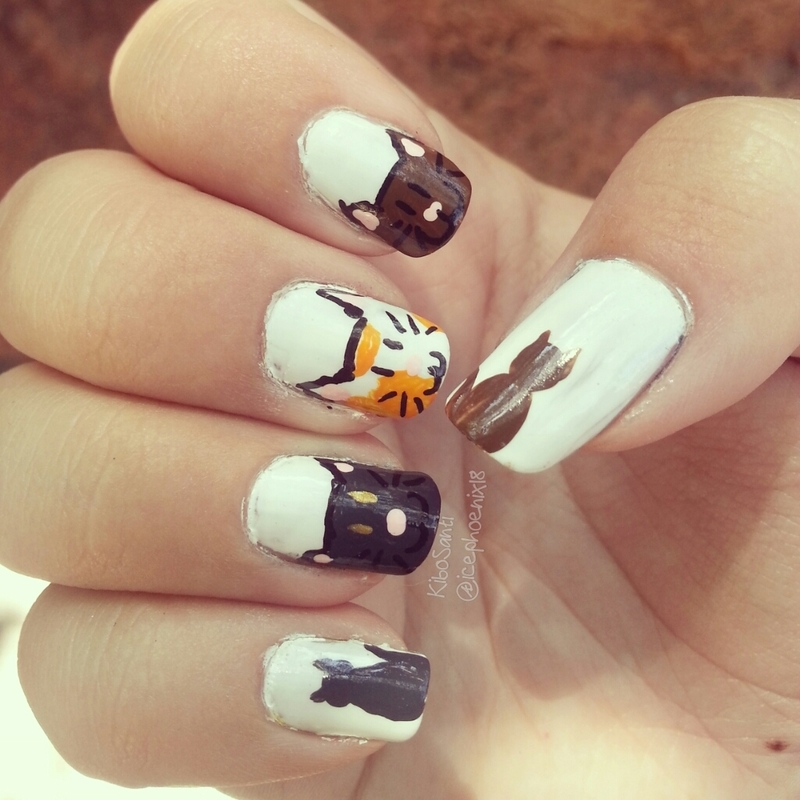 September challenge day 3 Cats nail art by KiboSanti