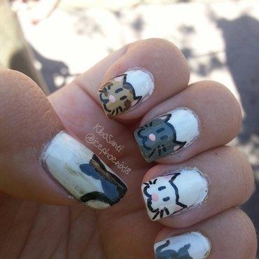 September challenge day 3 Cats (part 2) nail art by KiboSanti