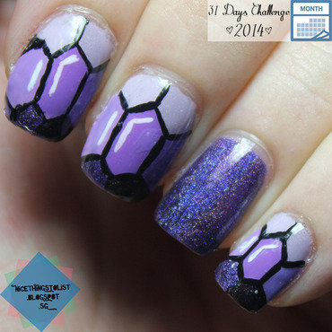 Purple Hex Jewel nail art by Karise Tan